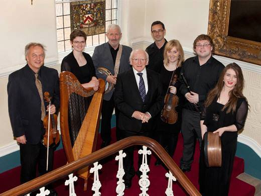 President Michael D. HIggins with Odhrán O Casaide, Kieran Hanrahan, Tom Doorley, Fiona Gryson, Tanya Murphy, Aimee Farrell Courtney and Robert Harvey at the Launch of The Encyclopedia of Music in Ireland